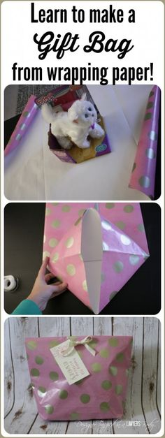 This is AWESOME! Come learn how to make a gift bag from wrapping paper. Perfect … This is AWESOME! Come learn how to make a gift bag from wrapping paper. Perfect for wrapping oddly shaped items! Full tutorial from Designer Trapped in a Lawyer's Body. Christmas Wrapping, Christmas Crafts, Craft Gifts, Diy Gifts, Party Gifts, Party Favors, Holiday Crafts, Holiday Fun, How To Make A Gift Bag