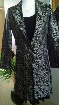 City Coat Long Blazer jacket Paisley Print Lined Silk & Rayon by Silk Box Size 2 #SilkBox #Blazer