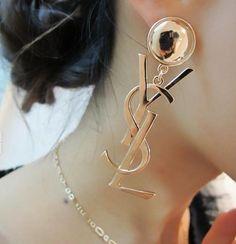 Korean Fashion Earrings Wholesale Earrings Letters For Women Cute Jewelry, Jewelry Shop, Jewelry Design, Gold Jewelry, Gold Necklace, Ysl, Fashion Earrings, Fashion Jewelry, Designer Jewelry Brands