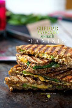 Cheddar, Avocado & Spinach Paninis   MarlaMeridith.com ( @marlameridith )