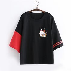Lucky Cat Print Color Block T-shirt Teen Fashion Outfits, Mode Outfits, Girl Outfits, Fashion Dresses, Kawaii Fashion, Cute Fashion, Kids Fashion, After Earth, Mode Kawaii