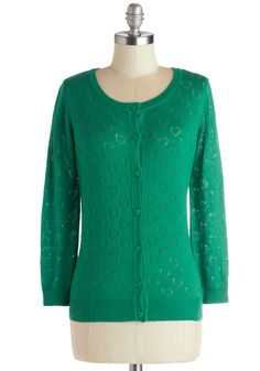Less is Amour Cardigan in Emerald. It doesnt take much to craft a perfectly lovable look. #green #modcloth