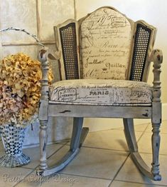love this shabby painted chair and the fabric