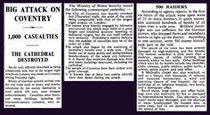 14th/15th November 1940 - German air raid on Coventry