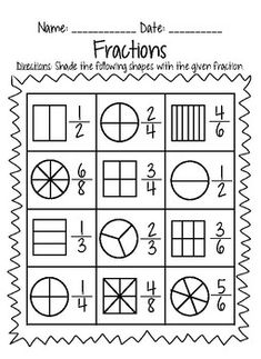 This fraction packet covers everything fractions! Set Includes: -Partitioning Shapes practice -Shading Fractions practice -Fractions as parts of a set & parts of a whole Fractions Worksheets Grade 3, 3rd Grade Fractions, Free Math Worksheets, Third Grade Math, School Worksheets, Printable Worksheets, Second Grade, Math For Kids, Elementary Math
