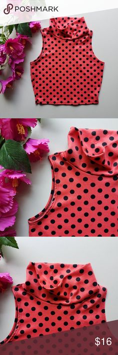 "A'Gaci Coral Polka Dot Crop Top A'Gaci polka dot crop top in the colors salmon and black. Good condition only worn once!  Neckline to Hemline: 13"" Chest: 15"" when laid flat a'gaci Tops Crop Tops"