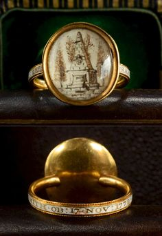 1772 Georgian Sepia Miniature Mourning Ring.18K Gold, Enamel, Sepia and Hair on Ivory.