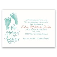 Easily personalized and shipped in a snap! Find a cute and stylish baby shower invite, like this baby feet design, perfect for honoring mommy and baby.