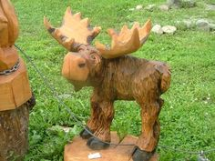 Adorable Moose carved by Wulf Creek Designs. Moose Decor, Bear Decor, Moose Lodge, Reno, Cabins In The Woods, Chainsaw, Wood Art, Rustic Decor, Wood Crafts