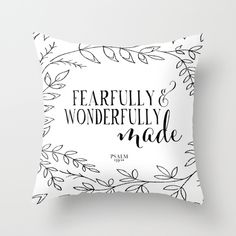 Fearfully and Wonderfully Made, Psalm 139:14, nursery, bible verse, bible verses, scripture, inspirational quote, scripture, spoonlily, black and white, floral, leaf, leaves, branches