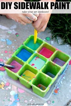 Skip the chalk at the store and make your owj DIY Sidewalk paint for kids! Mix up any color your want in this great summer activity for kids!