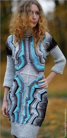 Платье,,Океан Эльзы,, - платье вязаное,платье спицами,платье теплое,авторская ручная работа