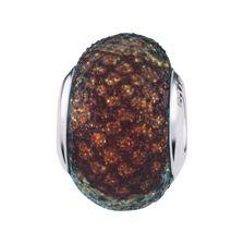 Brown Snake Print Glitter Charm