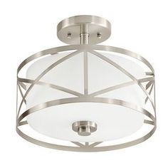 $89 For upstairs hallway?  Available at Lowes. Kichler Lighting Edenbrook 11.38-in W Brushed Nickel Frosted Glass Semi-Flush Mount Light