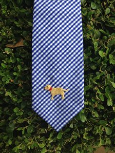 Royal Blue Gingham Boy's Tie with Hand-Embroidered Yellow Lab. Available in Any Fabric with Any Hand-Embroidery. McCall Wilder Couture.