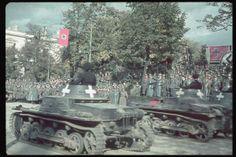 German victory parade in Warsaw. 2L on platform: Hitler. Location:Warsaw, Poland Date taken:October 1939 Photographer:Hugo Jaeger Invasion Of Poland, Victory Parade, Tank Armor, Tank Destroyer, Ww2 Tanks, Panzer, Photo Dump, World War Two, Colour Images