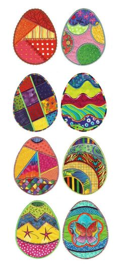 Fun n Funky Easter Eggs Applique design set available for instant download at www.designsbyjuju.com