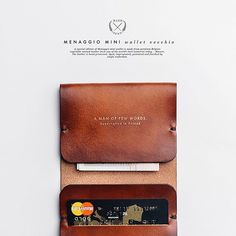 A special edition of Menaggio mini wallet is made from premium Belgian vegetable-tanned leather from one of the world's best tanneries today – Masure. The leather is hand processed: dyed, impregnated, patinated and finished by single craftsman. Handmade Leather Wallet, Leather Card Wallet, Leather Keychain, Simple Wallet, Leather Workshop, Leather Projects, Leather Crafts, Leather Pattern, Leather Accessories