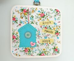 Birdhouse hoop wall art hanging spring floral fun by Madebydolly