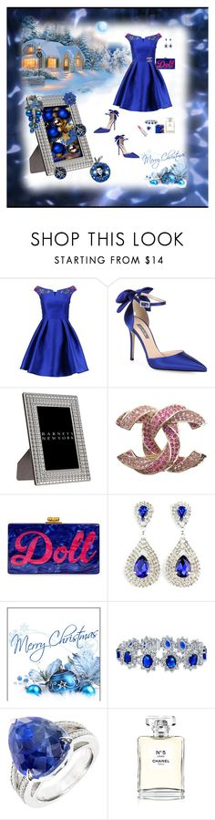 """""""I'll have a blue Christmas without you #contest #Fashion Group"""" by deborah-518 ❤ liked on Polyvore featuring Little Mistress, SJP, Del Conte, Chanel, Edie Parker, Bling Jewelry and Givenchy"""