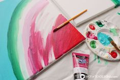 See how great the new line of Deco Art Americana Premium Paints blend together to create a beautiful watermelon canvas art this summer! Kids Canvas, Canvas Art, Painting For Kids, Art For Kids, Watermelon Painting, Americana Paint, Watermelon Birthday Parties, Tea Design, Acrylic Painting Tutorials