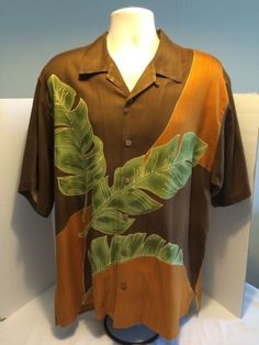 Tommy-Bahama-Relax-100-Silk-Brown-Orange-Banana-Leaves-Hawaiian-Shirt-Sz-L-EUC