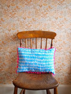 Neon Pink Pom Pom Cushion in Blue by jonnasaarinen on Etsy, Kitchen Gallery Wall, Dream Decor, Vintage Furniture, Kids Playing, Playroom, Screen Printing, Kids Room, Cushions, Neon