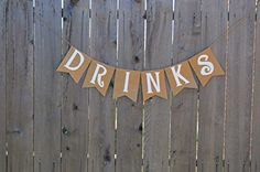 Burlap 'Drinks' Banner for Rustic Baby Showers or Shabby Chic Events Rustic Baby, Rustic Feel, Rustic Chic, Burlap Chair Sashes, Burlap Table Runners, Pallet Pictures, Pearl And Lace, Black Letter, Etsy