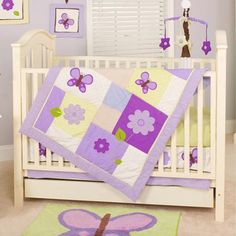 Pam Grace Creations Lavender Butterfly 10pc Nursery in a Bag Crib Bedding Set