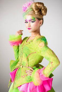 #Wool #Green #Sweater #lime #harlequin color Feltet #Eccentriccostume #melmetextil #etsyshop