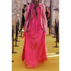 Gucci Appliquéd color-block silk-mousseline gown (162,555 MXN) ❤ liked on Polyvore featuring dresses, gowns, floral applique dress, silk gown, gucci gown, silk floral dress and floral evening gown