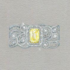 «This ornately decorative cuff is the perfect setting for a large, lemon-yellow 12.62 carat #Ashoka diamond _ #Boodles»