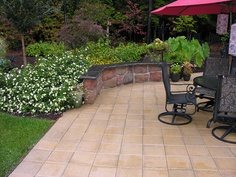 Stone sitting wall. Great for outdoor gatherings where you have many guests and limited seating.