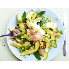all green salad with wolf fish: zucchini, sugar snap, avocado and spring onions