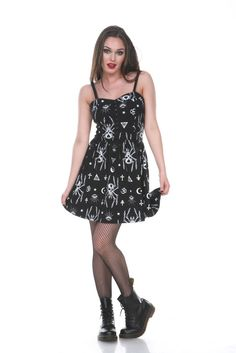 This is a deliciously dark goth dress design by jawbreaker, which has an all-over print of skull spiders, evil eyes and other occult symbols. Pin Up Dresses, Unique Dresses, Dresses For Sale, Cute Dresses, Summer Dresses, Edgy Dress, Goth Dress, Dress Black, White Dress