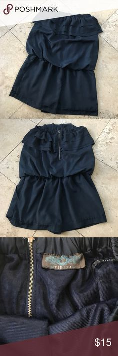 Tinley Navy Blue Ruffled Romper Like New. Tinley Shorts