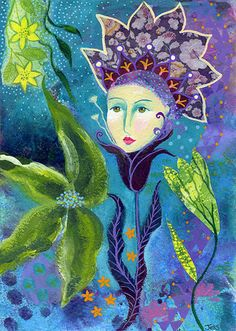Maris. Art print from my mixed media painting, wall art, A4