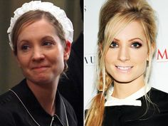 "Another ""Downton"" actress heating up the red carpet: Joanne Froggatt, who trades in Anna's dowdy housemaid uniform for smoky eyes and a stylish braid"