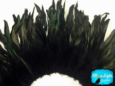 Black Dyed Strung Rooster Schlappen Feathers , 4 Inch Strip , Hair Feathers , Moonlight Feather for Ryuk's wings