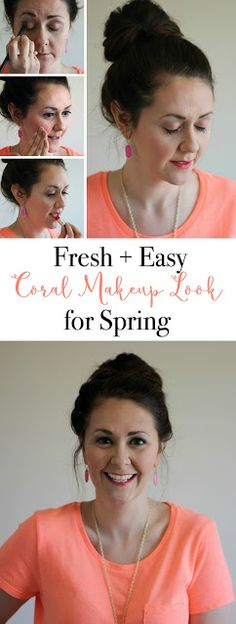 How to get a fresh + easy coral makeup look for spring, featuring Biore Charcoal products. #BioreCharcoal [ad]
