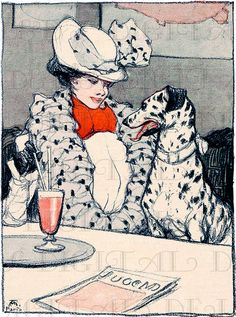 Two of a Kind! Vintage Art NOUVEAU Lady And her Lookalike DOG Illustration. Vintage Dalmatian Digital Download. Vintage Digital Dog Print.