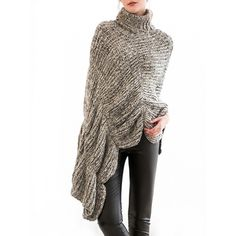 37.31$  Watch here - http://diuvz.justgood.pw/go.php?t=202930801 - Scalloped Turtleneck Asymmetric Poncho Sweater