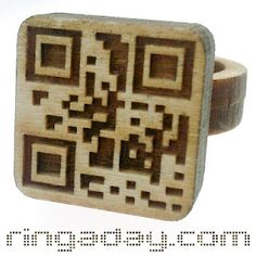Herbert Hoover created this wooden ring with a QR4 code cleverly laser cut into it as part of his ring-a-day project.