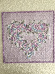 Lavender Floral Heart Wallhanging Quilt, Purple, Handmade by KeriQuilts on Etsy
