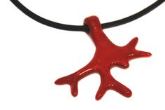 red coral necklace - made with ceramic #jewel #necklace