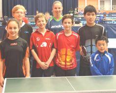 Spelers bij het internationale jeugdtoernooi in het Franse Metz, 2013. Namens de TTSD Arjan Huiden, Elwin Huiden, Dobrila Jorguseska en Collin Jager.