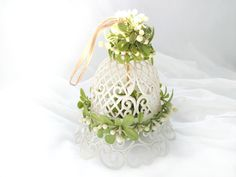 Vintage Wedding Bell Decoration White Plastic Lattice Green Mistletoe Leaves White Wedding Decoration Plastic Bell to Hang by CollectionSelection on Etsy