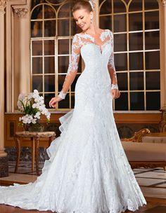 Elegant Wedding Gowns Bridal Dresses Popular Vintage Mermaid Long Sleeves Lace  Wedding Dresses 2016 Cheap Vestido 131ad57bdc3a