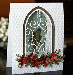 Weihnachtskarte mit geschmücktem Fenster