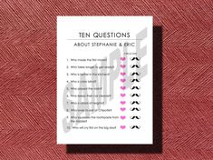 #BridalShower 10 Questions about the Bride and Groom by WeddingsByJamie, $15.00